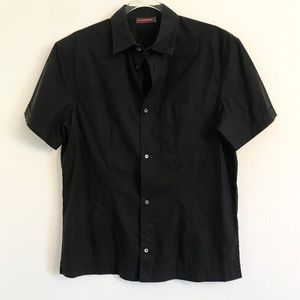Prada black button down blouse top shirt Large